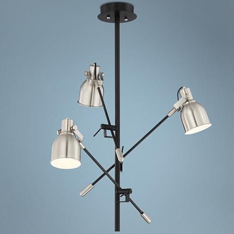 Trevette Adjustable 3-Arm Satin Nickel Chandelier