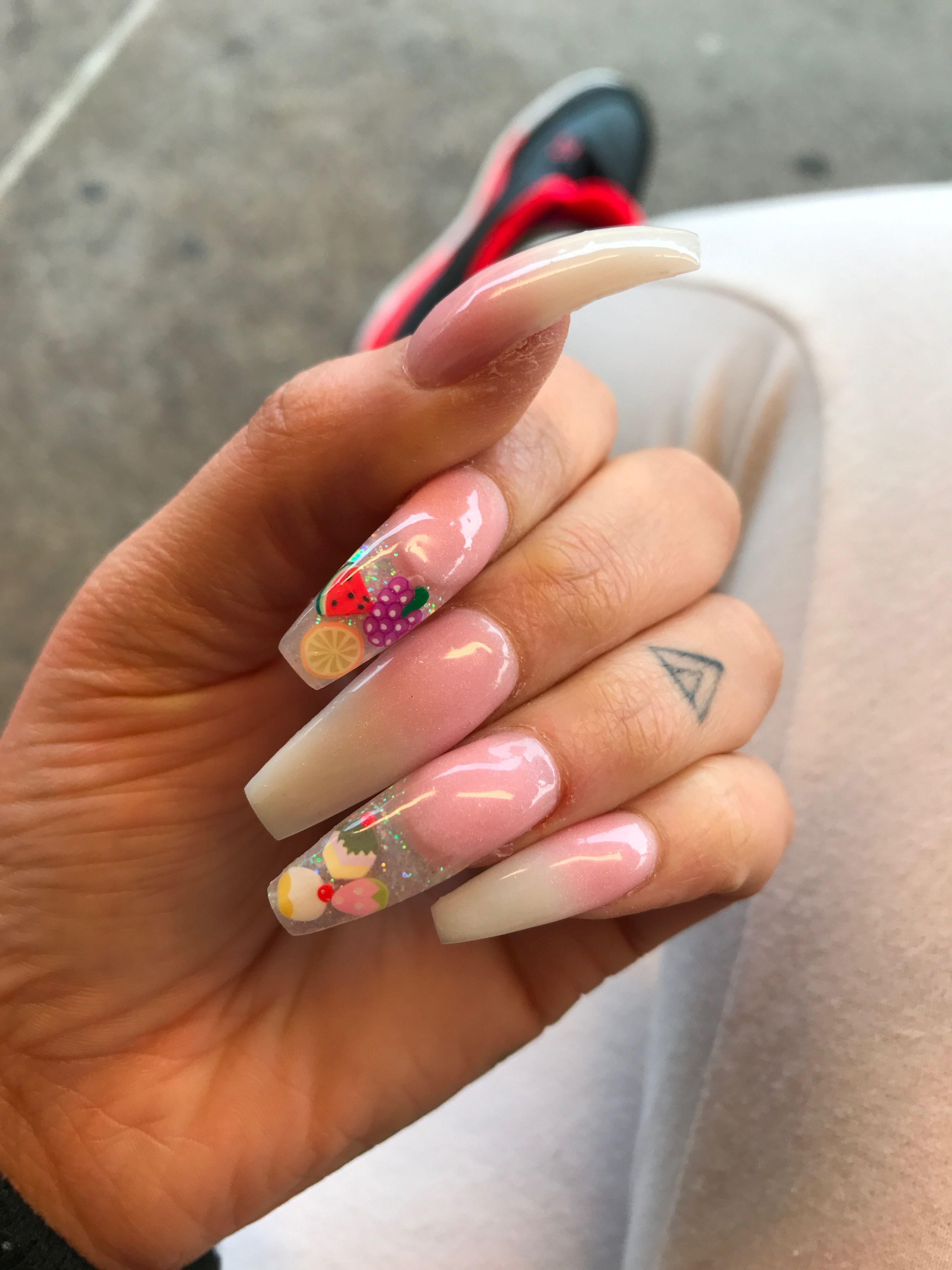 Coffin ombré French tips Glow in the dark acrylic encapsulated nail ...