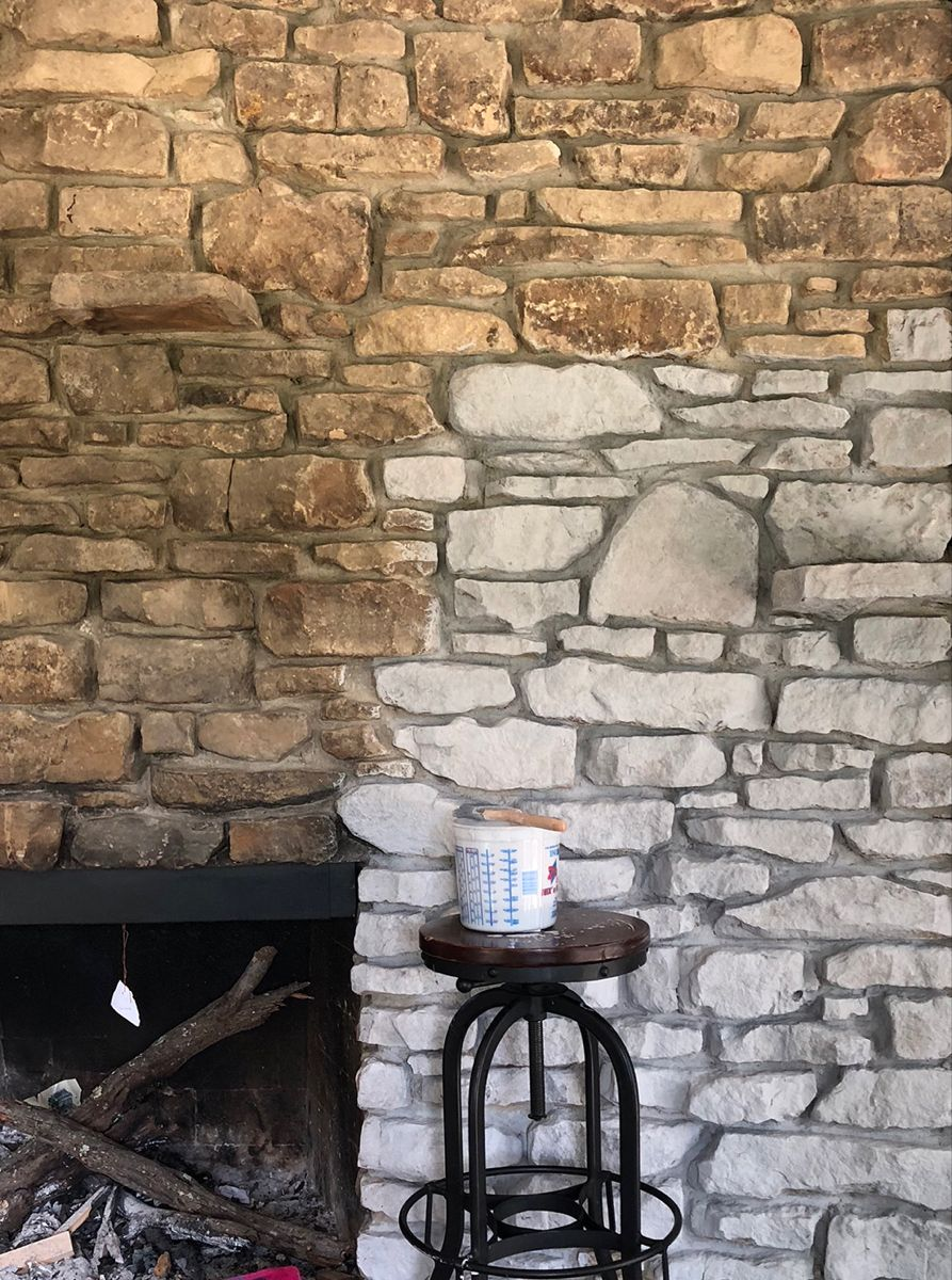 Our Farmhouse White Washing a Stone Fireplace — stars