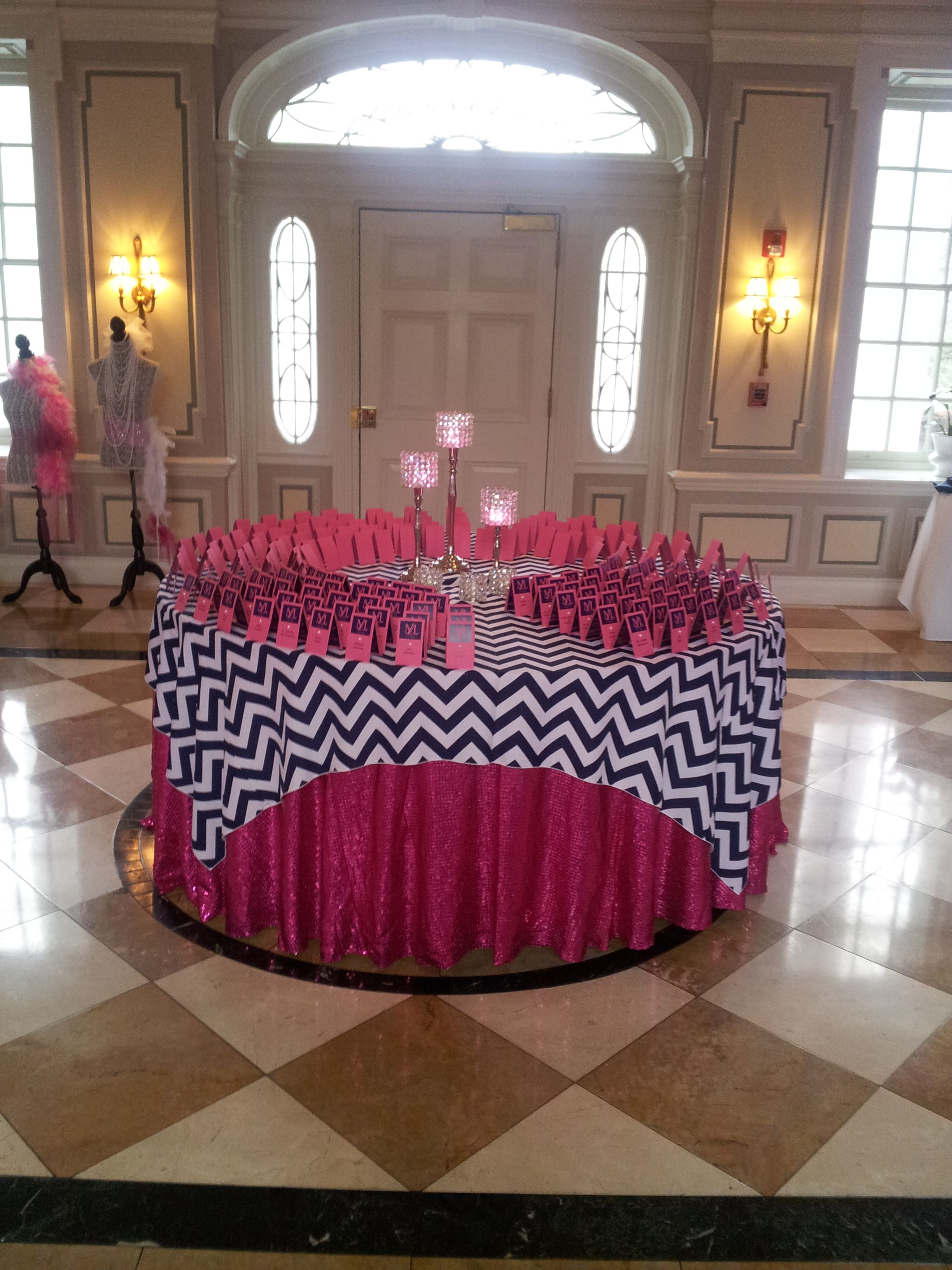 Hot pink and navy blue bat mitzvah colors you cannot go wrong with