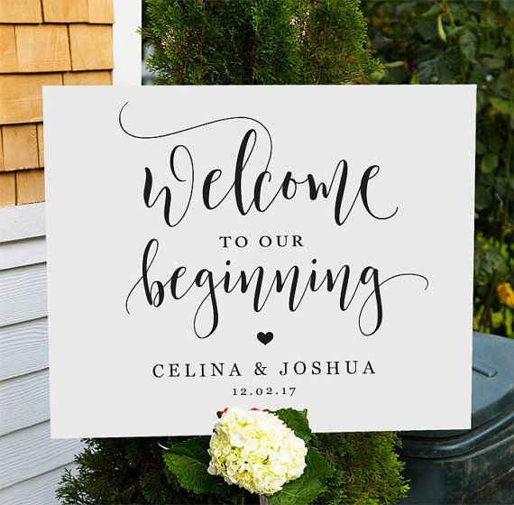 Welcome to our beginning sign printable wedding welcome sign welcome to our wedding welcome for Wedding signs templates