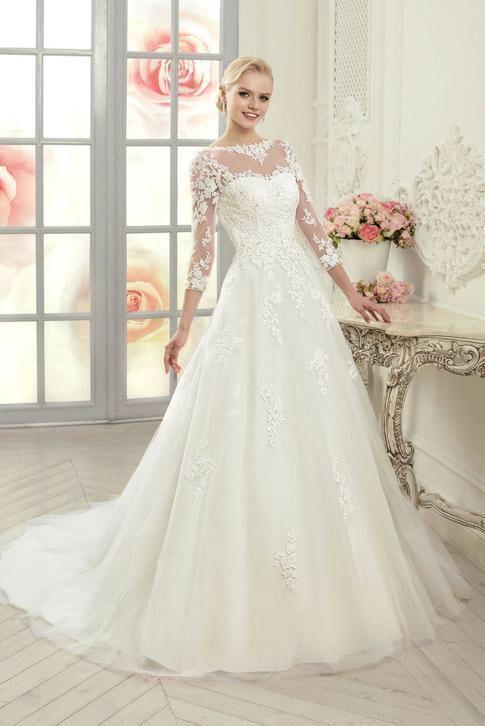Hedendaags Prinsessen trouwjurk op maat mooie bruidsjurk met lange mouw (met UA-53