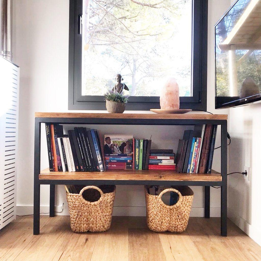 Mueble libreria estilo industrial a medida madera y base de metal ...