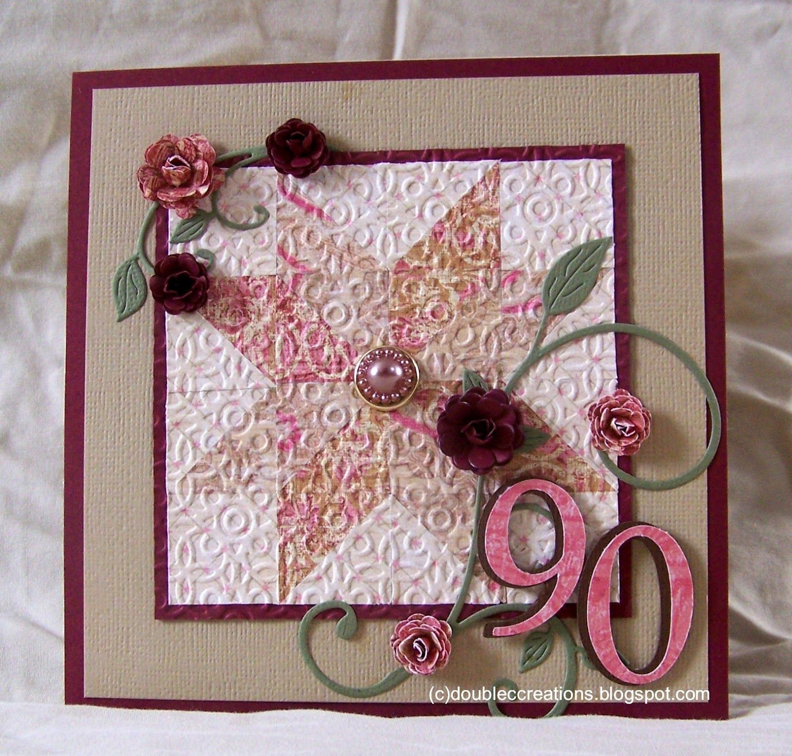 Card Making Ideas 90th Birthday Part - 28: Double C Creations: Another 90th Birthday Card