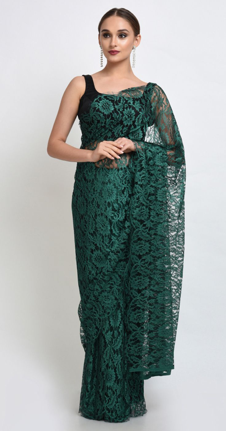 Peacock Green Black French Chantilly Lace Saree With Satin Crepe Blouse