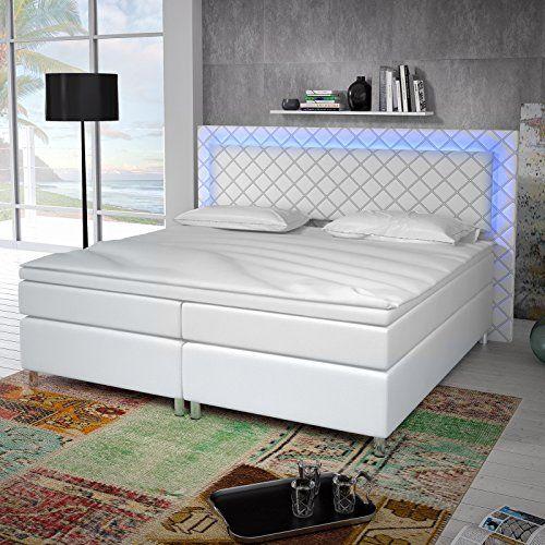 Designer boxspringbett  Designer Boxspringbett Tokyo LED Licht (Weiß, 160 x 200 ...