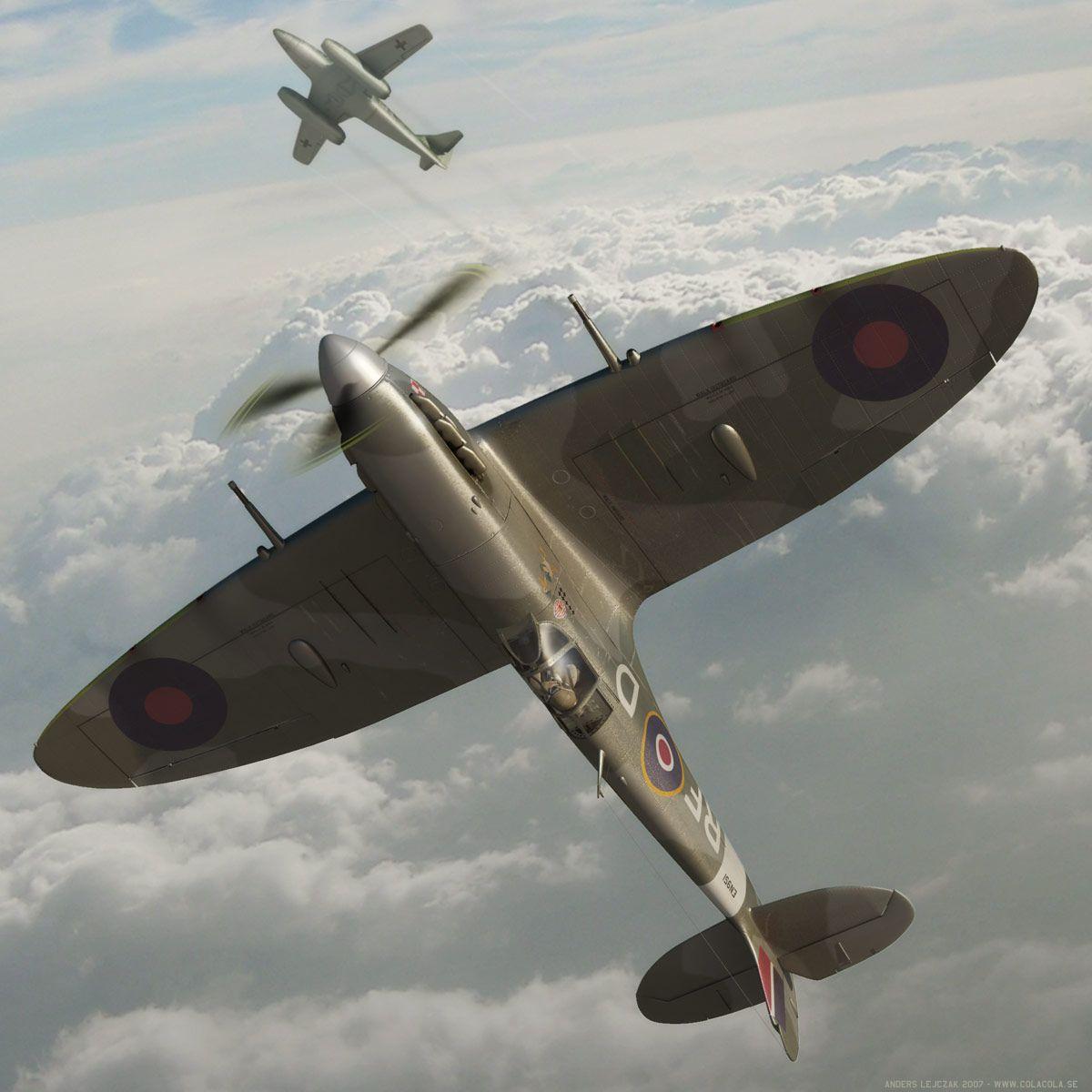 Fictitious Encounter Of Spitfire Mkv Vs A Messerschmitt Me262 Beautiful 3d Rendering By Anders Lejczak Using Aircraft Art Fighter Jets Military Aircraft