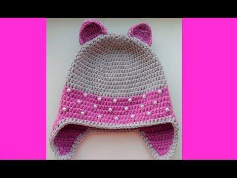 Детская шапка крючком с ушками 1 часть- crochet baby hats - YouTube ...