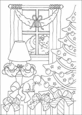 Раскраска на тему Новый год и веселое Рождество бесплатно ...