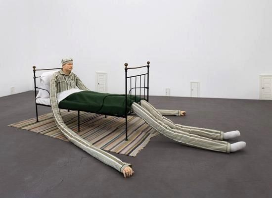 Untitled (Man in bed, small doors),by Peter Land