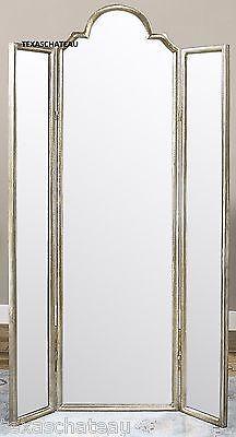 french glam silver leaf dressing mirror tri fold 3 panel full length vanity espejos espejos. Black Bedroom Furniture Sets. Home Design Ideas