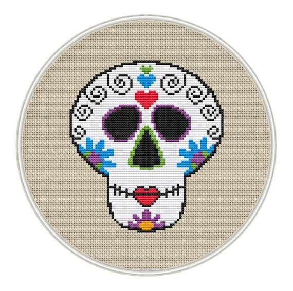 Cráneo Mini Azúcar Contado patrón de punto de cruz, Descarga ...