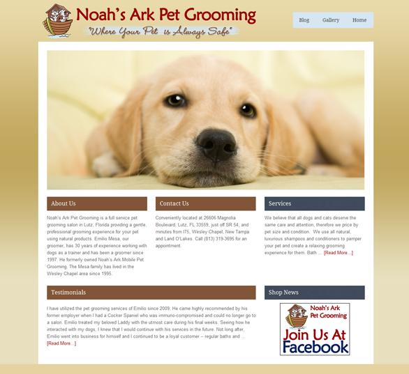 Custom design for Noah's Ark Pet Grooming Ekko Web