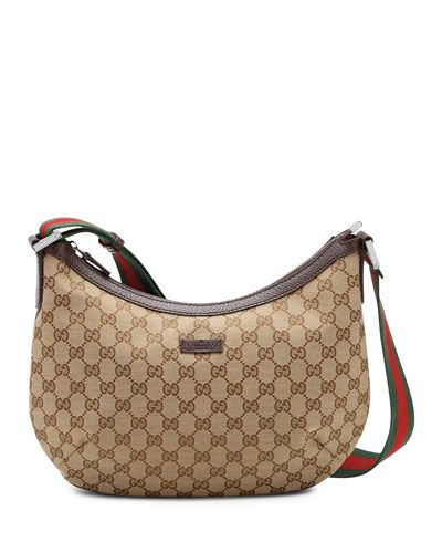 V1m9e Gucci Original Gg Dipped Canvas Messenger Bag With Signature Web Strap Brown