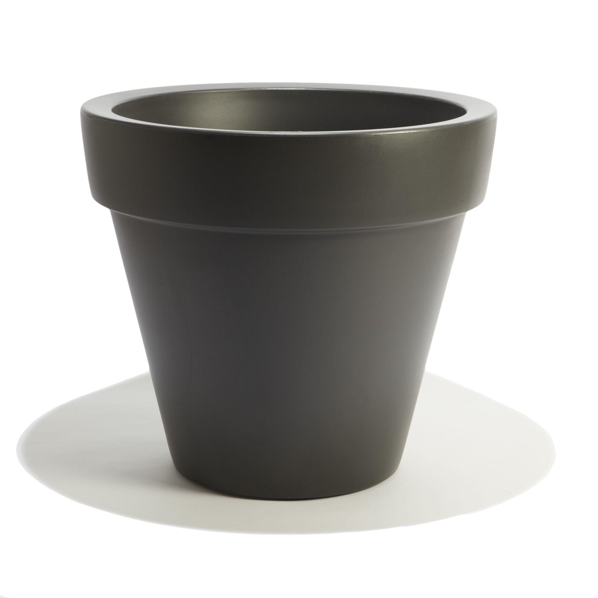 Grand pot GRIS ANTHRACITE en plastique rotomoulé D80cm de la marque ...