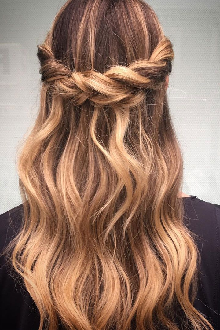 Crown Braid With Half Up Half Down Hairstyle Inspiration Hair
