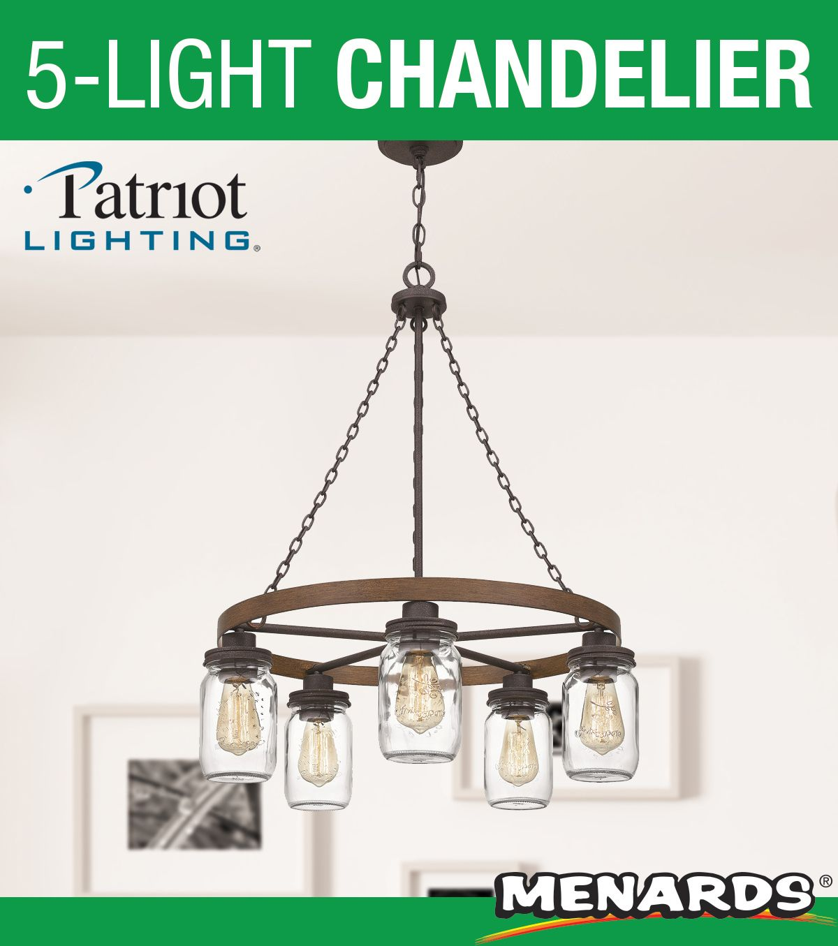 Patriot Lighting Elegant Home Wheland Matte Black And Faux Wood 5 Light Chandelier Chandelier 5 Light Chandelier Light