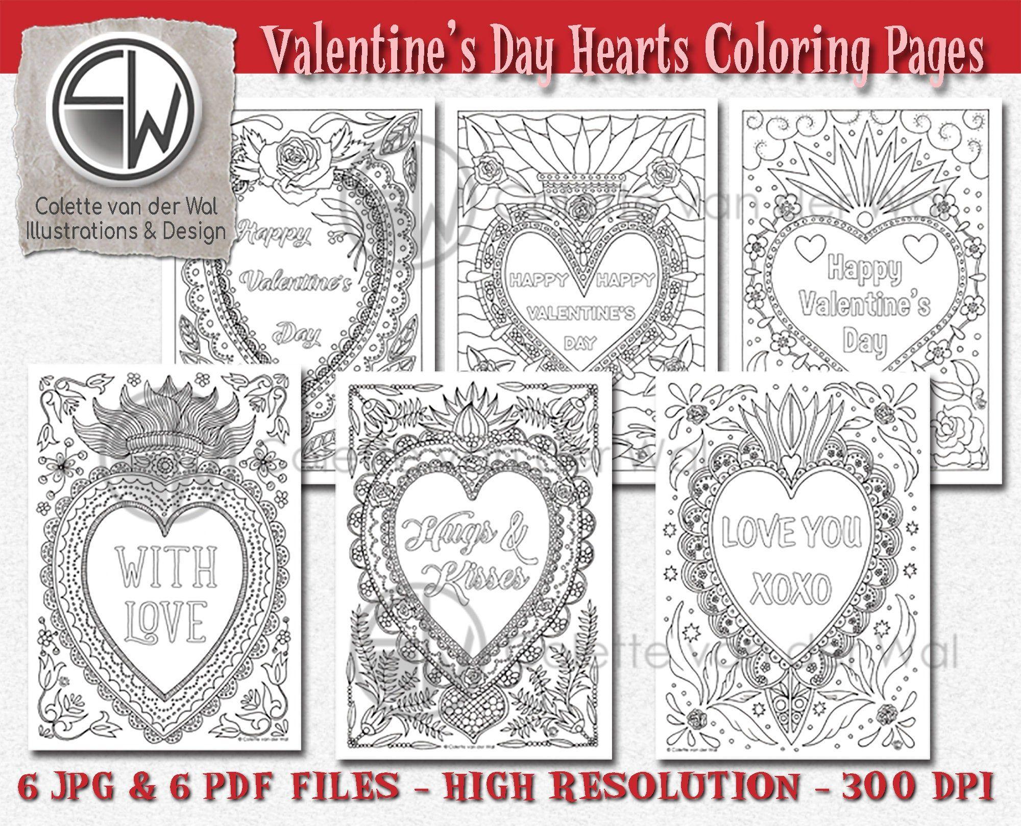 Valentijsdag Harten 6 Digitale Kleurplaten Valentijn Etsy Etsy Hart Kleurplaten Voor Volwassenen