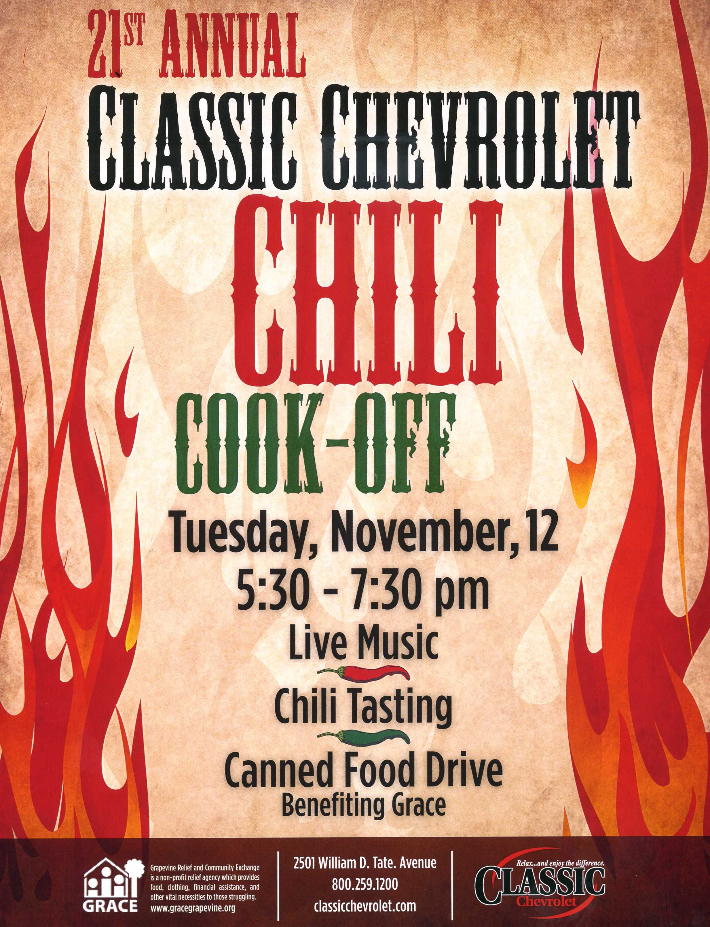 21st Annual Classic Chevrolet Chili Cook Off Nov 12 In Grapevine Tx Live Music Great Chili And A Canned Food Drive S Chili Cook Off Cook Off Classic Chili