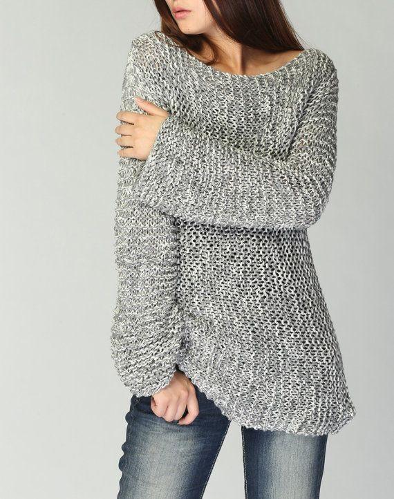 Pull pull long en coton co gris clair tricot s la main tricot pinterest pull long - Tricot a la main ...