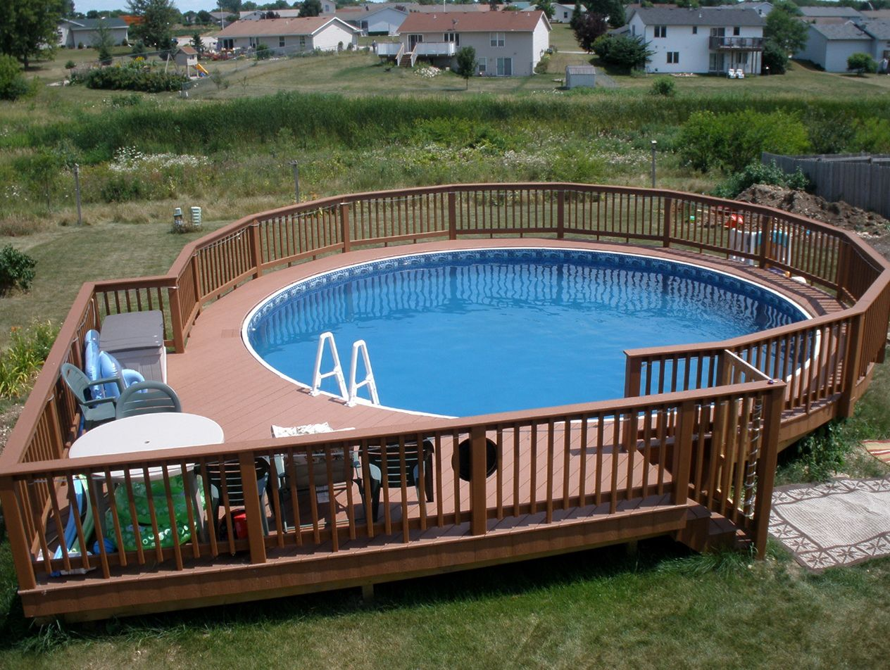 Pool deck plans foot round picture pool ideas for Above ground pool with decks