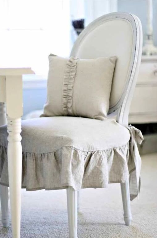 Pleasing Chair With Linen Seat Cover Love The Ruffles For The Download Free Architecture Designs Scobabritishbridgeorg