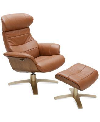 Annaldo Leather Swivel Chair Amp Ottoman 2 Pc Set Living