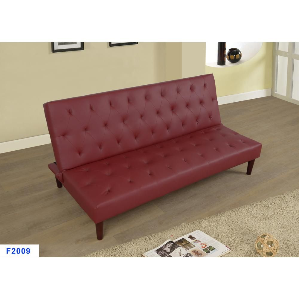 Outstanding Star Home Living Corp Burgundy Red Faux Leather Convertible Pdpeps Interior Chair Design Pdpepsorg