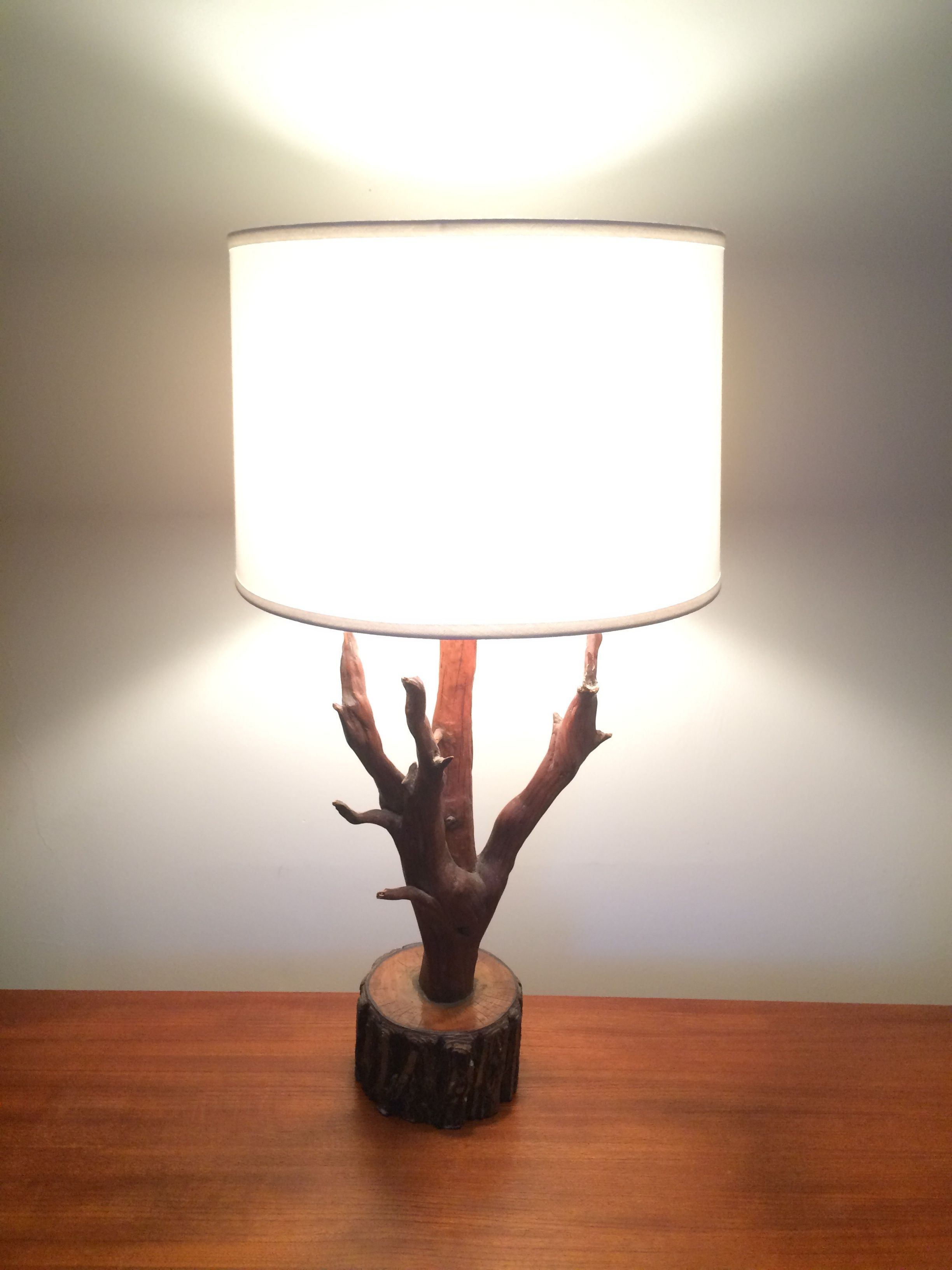 Handmade Natural Wood Log Stick Lamp Base Shade Not Included Perfect For Cottage Or Lodge