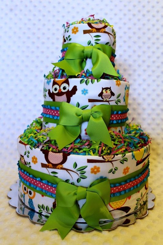 Owl Diaper Cake Decorations : Owls Baby Diaper Cake Shower Gift or Centerpiece - Custom ...