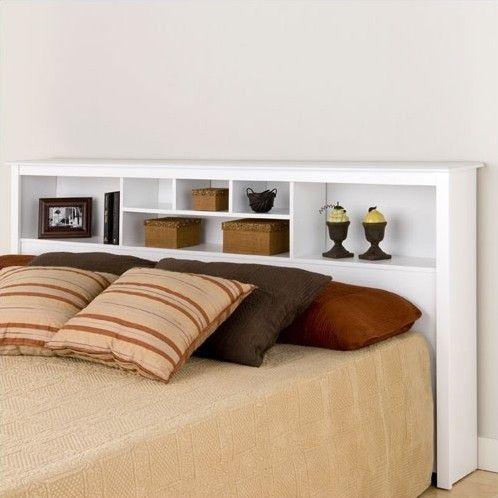 King size Stylish Bookcase Headboard in White Wood Finish Products