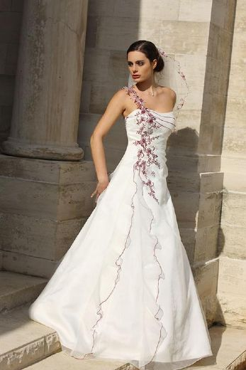 One Shoulder White Wedding Gown With Pretty Purple Trims And Detail Ladybird