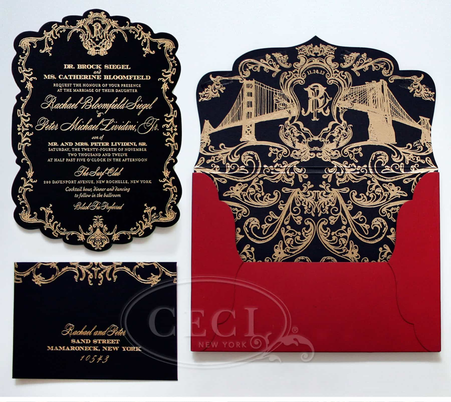 awesome Black and Gold Wedding Invitations #weddinginvitation ...