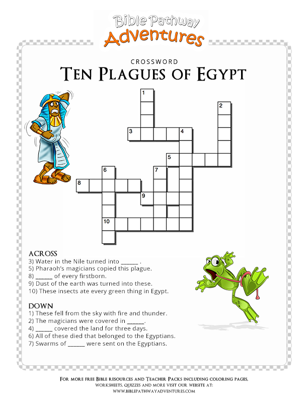 Free Bible Crossword Puzzle: Ten Plagues of Egypt | ccd | Pinterest ...
