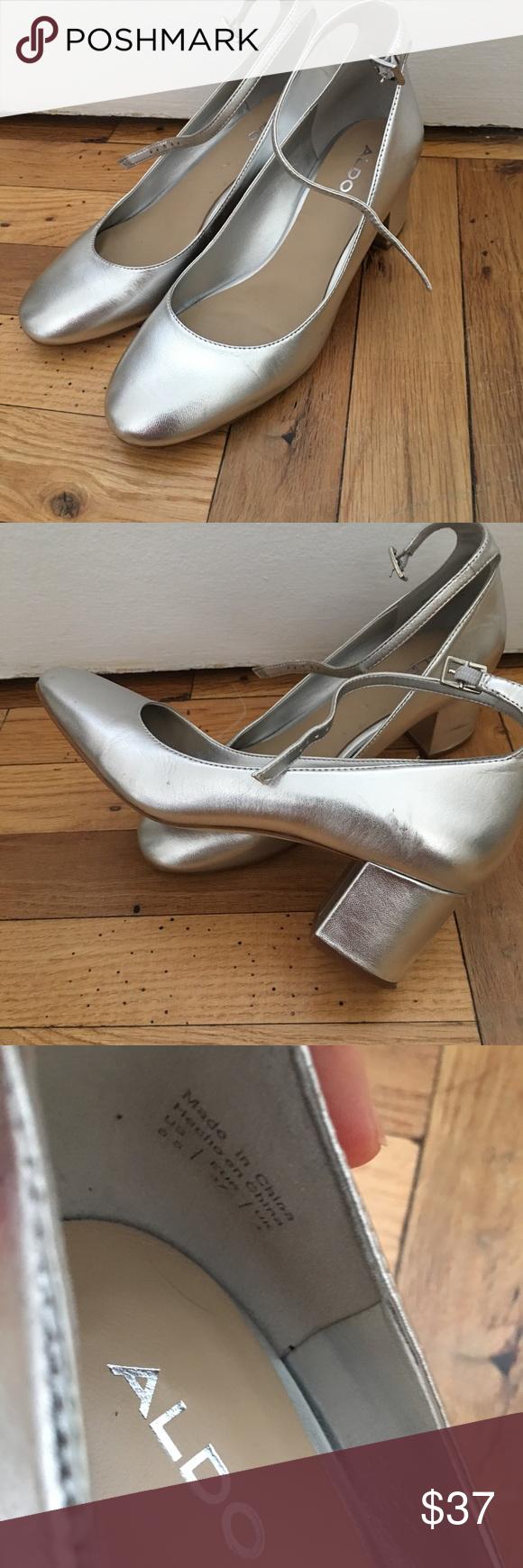 453f72fc3f6 Silver ALDO Clarisse Ankle Strap Pumps Comfortable