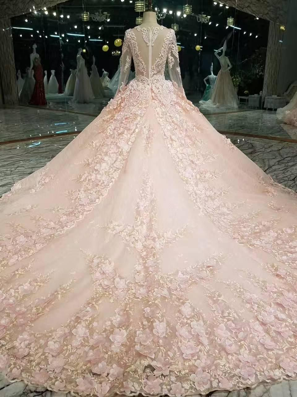 Real Photos Long Sleeveless O Neck Luxury Long Train Lace Beaded Crystals Bow Wedding Dresses 2017 Bridal Dress Gown Pink Wedding Dresses Plus Size Wedding Dres Bow Wedding Dress Pink Wedding [ 1280 x 960 Pixel ]