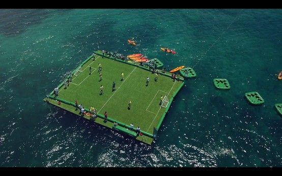 Floating football pitch by Heineken.