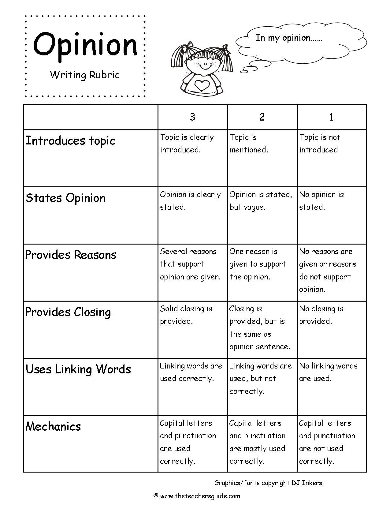 Opinion Writing Prompts Rubric