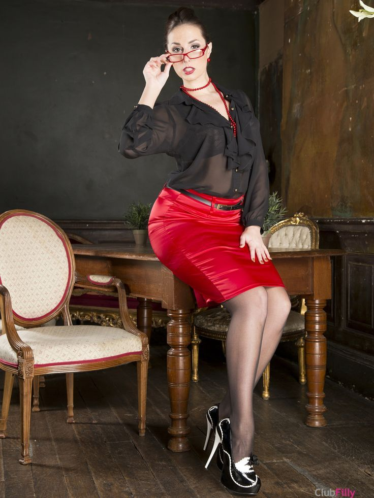 5a473f13a3 Red Satin Pencil Skirt Black Blouse and Black High Heels | Office ...