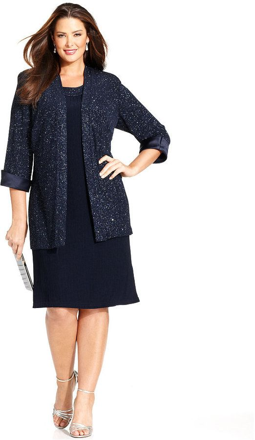 5ea0605566b42 R M Richards Plus Size Sleeveless Glitter Shift Dress and Jacket ...