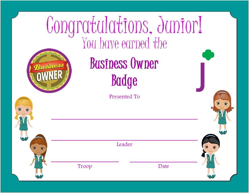 Junior Business Owner Badge Certificate