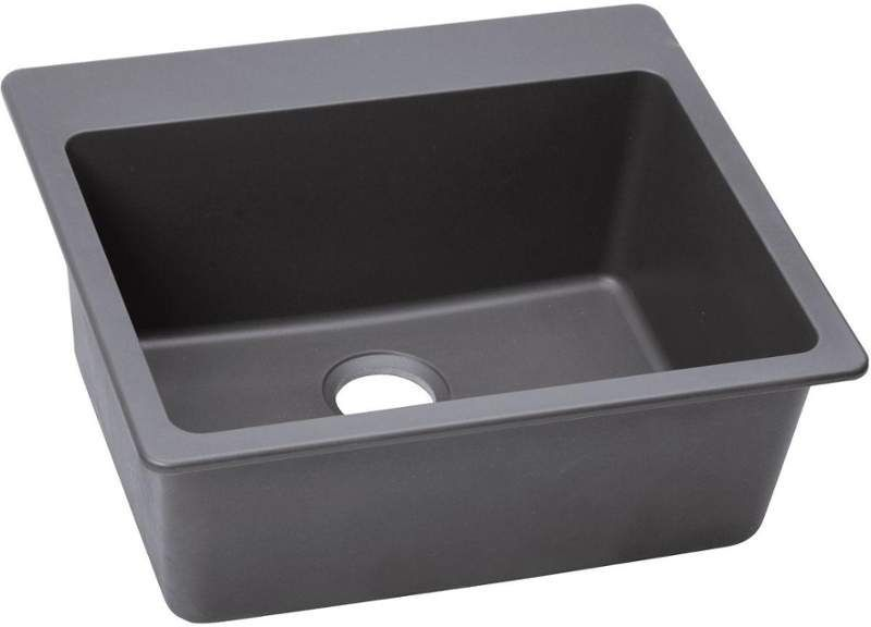 "Elkay ELG2522 Gourmet 25"" Single Basin Granite Composite Kitchen Sink for Drop I Greystone Fixture Kitchen Sink Granite"