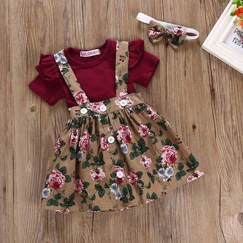 Baby Toddler Girls Jumper Skirt, Onesie, Bow 3Pcs