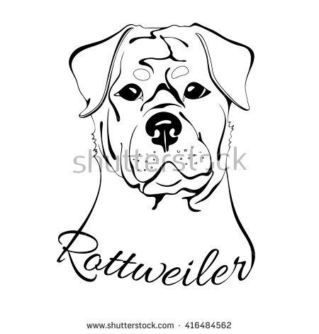 Image Result For Simple Rottweiler Line Drawing With Images