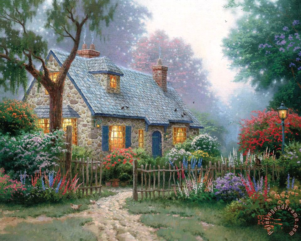 Foxglove Cottage Painting By Thomas Kinkade Thomas Kinkade Artist Peintre Pinterest