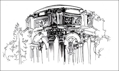 Urban Sketchers: Nightsketching the Palace of Fine Arts