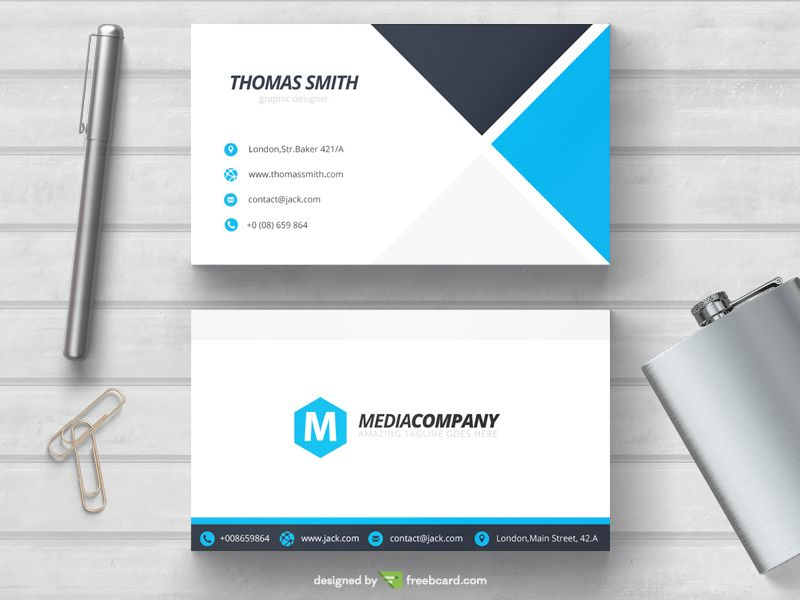 Blue Minimal Business Card Template With Images