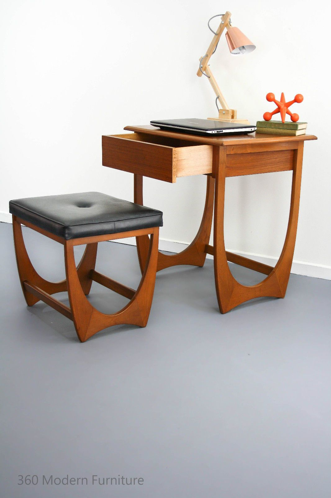 Mid Century Modern Desk Hall Table Drawer Console Stool Vintage