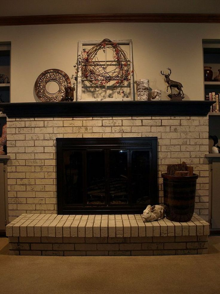 Cream Painted Fireplace Brick 12 Hometalk Painting A Brick