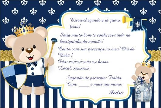 Convites Chá De Bebê Urso Festa 1 Dinis Baby